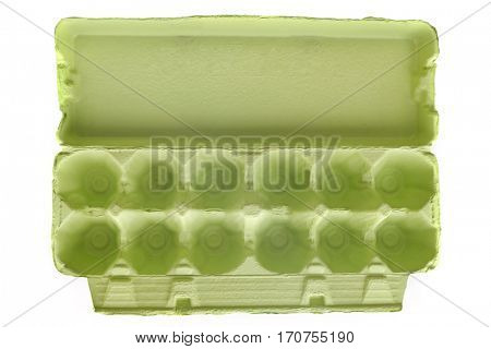 Empty green egg carton, open.  Top view, isolated on white.