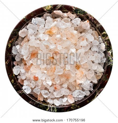 Rock salt isolated, top view.  Himalayan pink rock salt in small bowl.