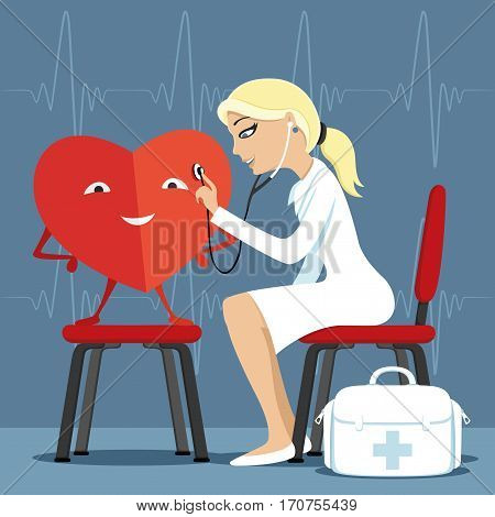Doctor and heart on a blue background.