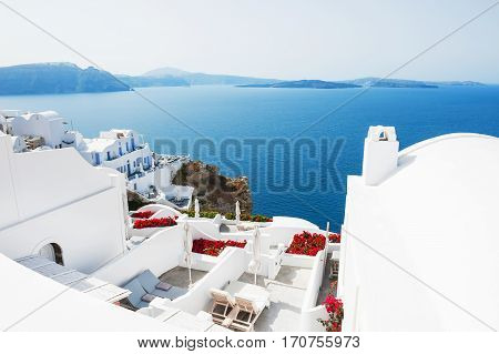 White architecture on Santorini island Greece. Summer landscape