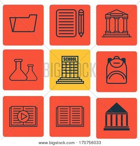 Set Of 9 School Icons. Includes Haversack, Education Center, Chemical And Other Symbols. Beautiful Design Elements.