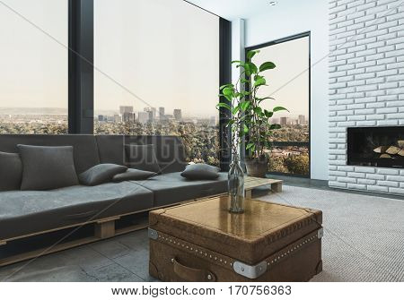 Luxurious living room of stylish high rise modern apartment with city skyline view. 3d Rendering.