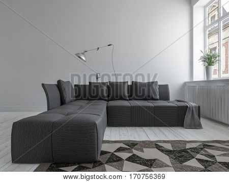 Black corner sofa and the carpet in minimalist interior design room with white floor, near bright window. 3d rendering.