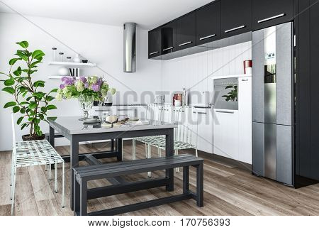Modern kitchen in minimalist interior design with black and white furniture and dining table with chairs and benches. 3d rendering.