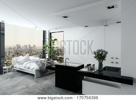 Open plan modern bedroom bathroom in a studio with a messy unmade bed in front of view windows overlooking a cityscape. 3d Rendering.