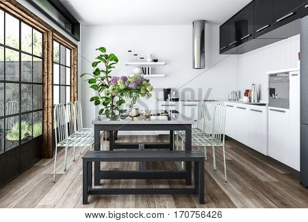 Bright kitchen in white and black minimalist interior design with dining table decorated with indoor plants, near huge windows. 3d rendering.