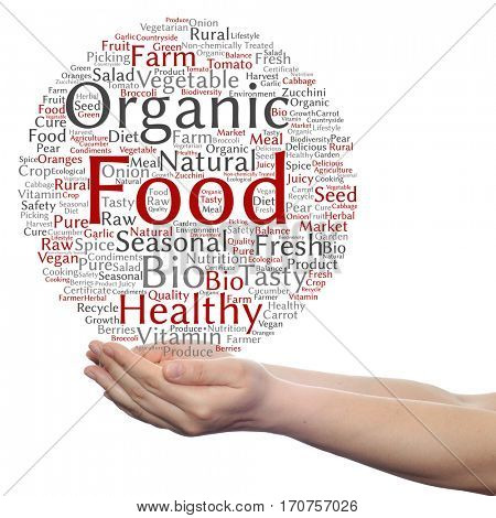 Concept or conceptual organic food healthy bio vegetables circle word cloud in hand isolated on background metaphor to natural, fresh tasty farm agriculture, certificate ecological garden quality crop