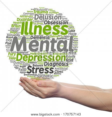 Concept conceptual mental illness disorder management therapy abstract word cloud held in hands isolated on background metaphor to health, trauma, psychology, help, problem, treatment rehabilitation