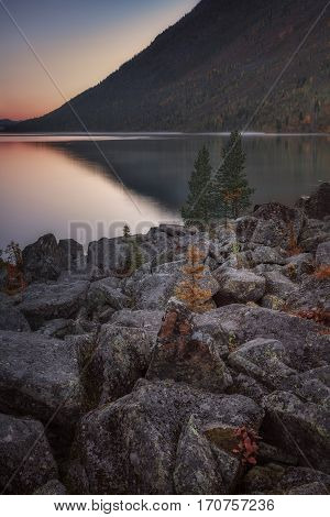Sunset Mountain Lake With Rocks And Lonely Pines On Foreground, Altai Mountains Highland Nature Autumn Landscape Photo. Beautiful Russian Wilderness Scenery Image.