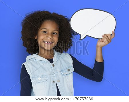Girl Holding Speech Bubble Paper Craft Smiling