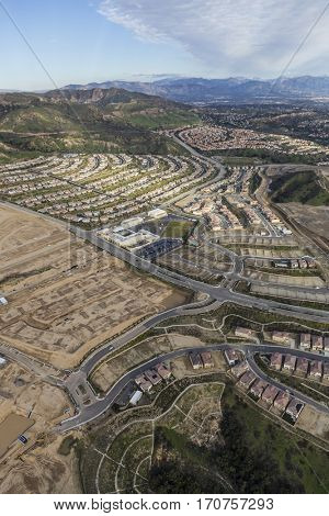 Aerial view of Porter Ranch construction and Oat Mountain in the City of Los Angeles, California.