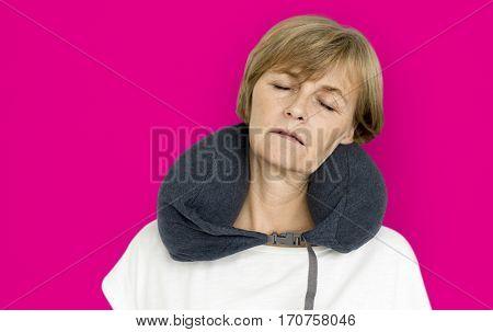Senior Adult Woman Neck Pilow Comfortable Sleeping Concept