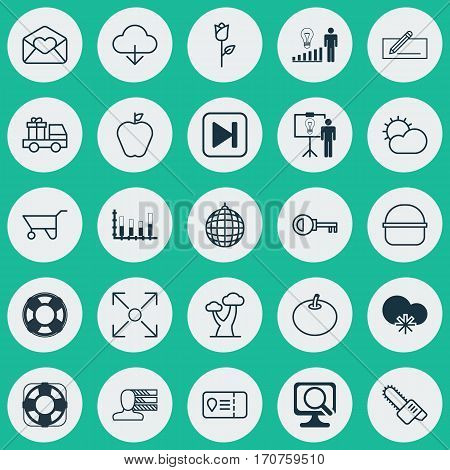 Set Of 25 Universal Editable Icons. Can Be Used For Web, Mobile And App Design. Includes Elements Such As Gasoline Cutter, Taste Apple, Save Data And More.