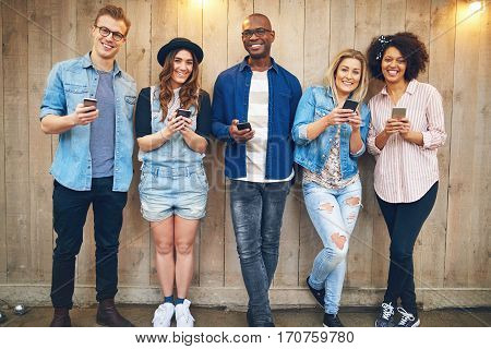 Group Of Friends With Smartphones