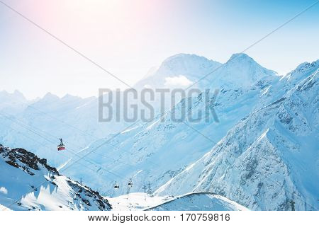 Cable Car On The Ski Resort In The Winter Mountains.