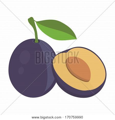 composition of plums purple plum fruits whole and slice appetizing looking tasty fruits for the packaging of juice plums with leaves