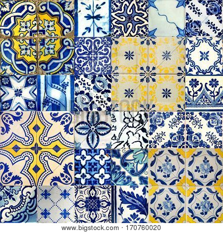 Set of different blue patterns tiles in Lisbon, Portugal