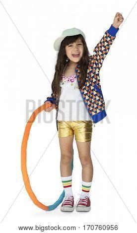 Little Girl Smiling Happiness Hula Hoop Studio Portrait