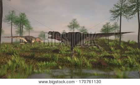 3d illustration of the running tarbosaurus