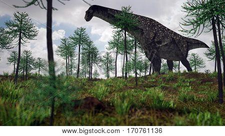 3d illustration of the walking titanosaurus