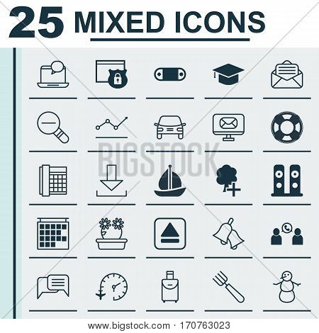 Set Of 25 Universal Editable Icons. Can Be Used For Web, Mobile And App Design. Includes Elements Such As Extract Device, Graduation, Read Message And More.