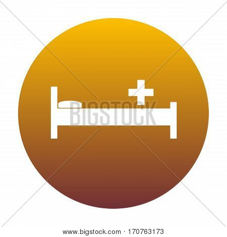 Hospital sign illustration. White icon in circle with golden gradient as background. Isolated.
