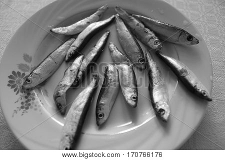little size of marine silver fish lay on plate look like try to escape from dinner