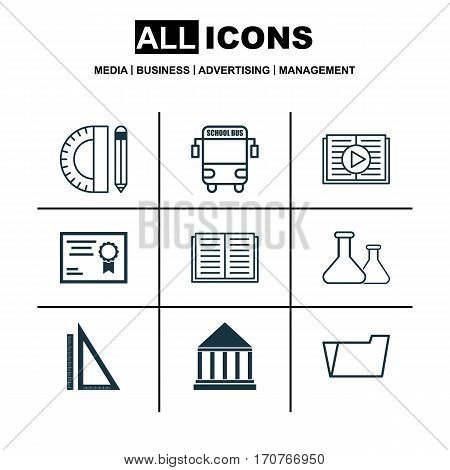Set Of 9 School Icons. Includes Transport Vehicle, Measurement, Certificate And Other Symbols. Beautiful Design Elements.