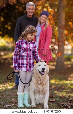 Girl stroking dog while parents standing at park during autumn