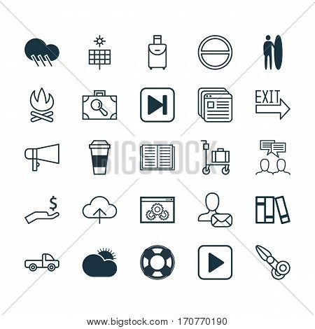 Set Of 25 Universal Editable Icons. Can Be Used For Web, Mobile And App Design. Includes Elements Such As Clippers, Data Synchronize, Mocha And More.