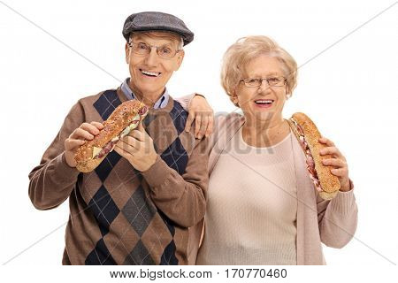 Seniors having sandwiches isolated on white background