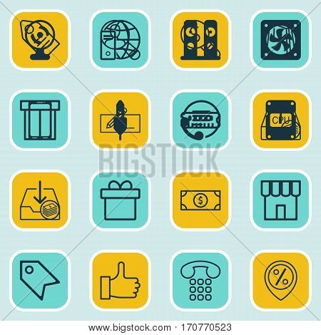 Set Of 16 Commerce Icons. Includes Spectator, Money Transfer, Callcentre And Other Symbols. Beautiful Design Elements.