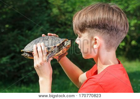 Cute teenager boy wearing red t-shirt sitting in a summer garden looking at turtle