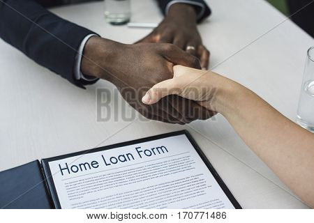 Application Form Hand Shake Agreement Concept