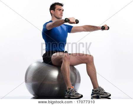 man exercising workout on white background. Seated Swiss Ball Lateral Arm Raise