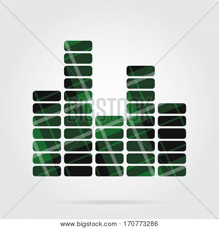 green black isolated tartan icon with white stripes - mixing console equalizer symbol and shadow in front of a gray background