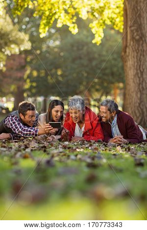 Joyful family using cellphone while lying on front at park