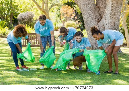 Group of volunteer collecting rubbish in park
