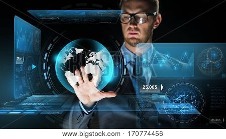 business, people, future technology, mass media and cyberspace concept - close up of businessman touching earth globe projection on virtual screen over dark background