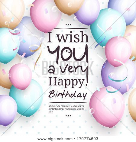 Happy birthday greeting card. Retro vintage pastel party balloons, streamers, and stylish lettering.