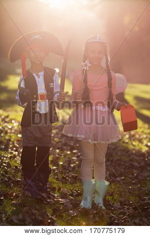 Full length portrait of siblings wearing costumes at park on sunny day