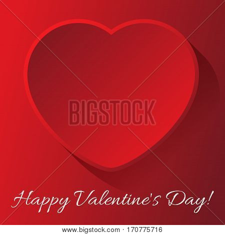 valentines day greeting card - red heart with outline shadow and text on a red background
