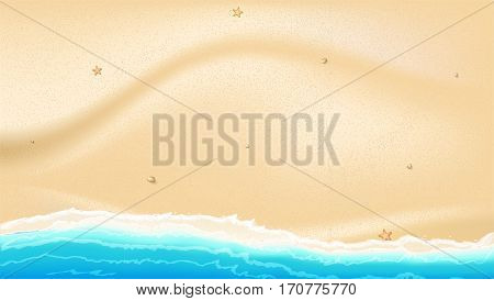 Coast of sea, ocean with yellow, Golden sand, scattered rocks, starfish. Sea surf, top view, background for a summer greeting card or promotional offers. Illustration with HD proportions 16-9