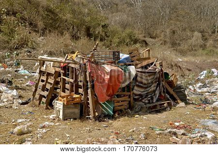 MAZATLAN, MEXICO, January 30, 2017: A shelter, home, and residence of a dump dweller in a city landfill in Mazatlan, Mexico