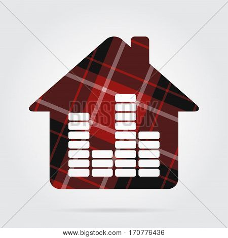 red black isolated tartan icon and white stripes - house with equalizer and shadow in front of a gray background