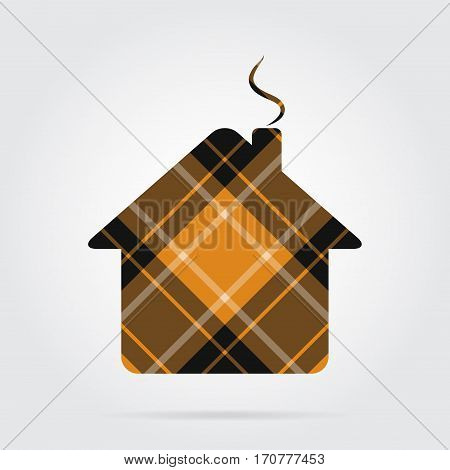 yellow black isolated tartan icon and white stripes - house with chimney and shadow in front of a gray background