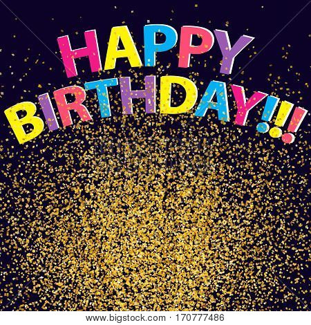 Confetti Background Happy Birthday Congratulation Golden Glitter 4