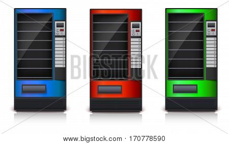Vending Machine with shelves, green, red and blue coloor. 3D images, vector icon, eps10