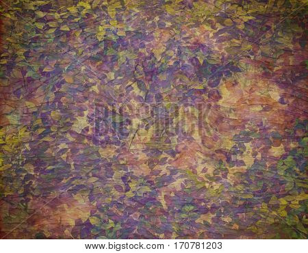 Leafy autumn greenery canvas and wood textured grunge background. Copy space for text.