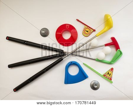 Funny Toy Golf Set With Clubs , Balls, Ball Rack, Holes And Flags